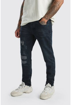 Mens Indigo Worn Skinny Jeans With Ankle Zips