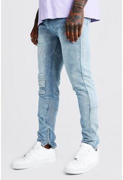 Mens Vintage blue Worn Skinny Jeans With Ankle Zips