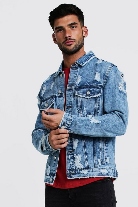 Mens Vintage blue Denim Jacket With Extreme Distressing