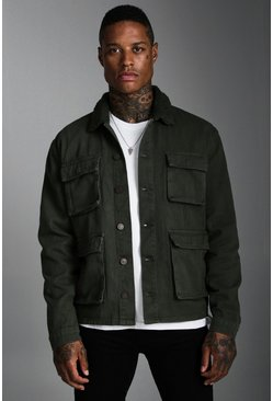 Khaki 4 Pocket Denim Jacket With Borg Collar
