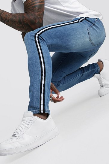 Mens Mid blue Super Skinny Jeans With Side Tape
