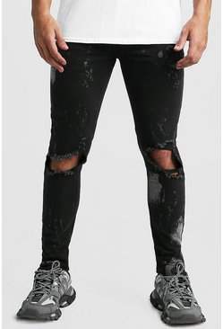 Herr Washed black Skinny Bleached Distressed Jeans
