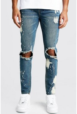 Mens Vintage blue Skinny Bleached Distressed Jeans