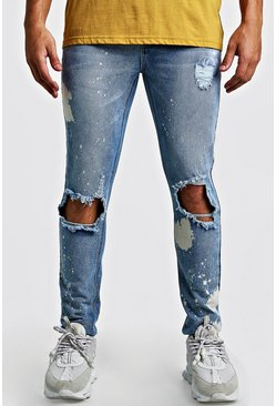 Mens Light blue Skinny Bleached Distressed Jeans