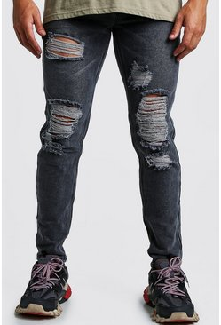 Mens Mid grey Slim Fit Rigid Distressed Denim Jeans