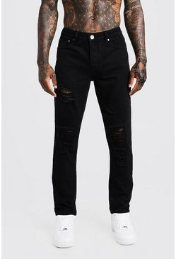 Steife Slim-Fit Jeans in Used-Optik, Schwarz