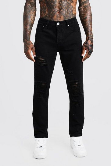 Mens Black Slim Fit  Rigid Distressed Denim Jeans