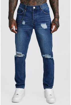 Mens Mid blue Slim Fit Rigid Distressed Jeans With Chain