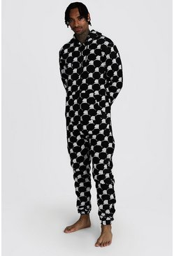 Mens Black M Repeat Printed Onesie