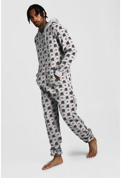 Grey M Repeat Printed Onesie