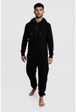 Black Zip Through Hooded Onesie