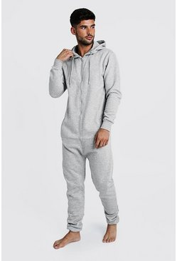 Mens Grey Zip Through Hooded Onesie