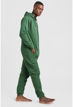Mens Green Zip Through Hooded Onesie
