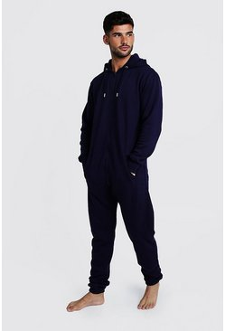 Mens Navy Zip Through Hooded Onesie