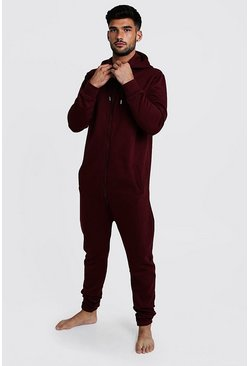 Mens Burgundy Zip Through Hooded Onesie