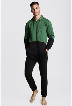 Mens Green Colour Block Onesie
