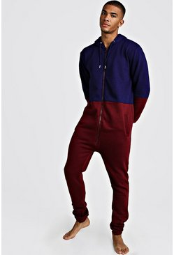 Mens Burgundy Colour Block Onesie