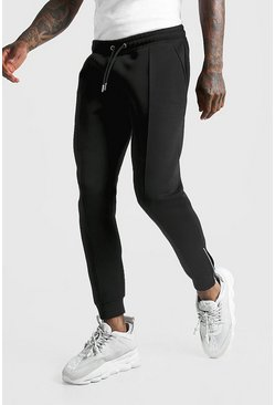 Mens Black MAN Signature Scuba Pintuck Joggers