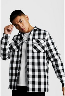 Mens Black Quilted Check Over Shirt