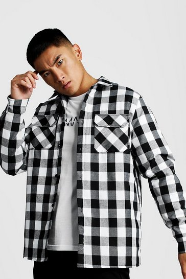 Black Quilted Check Over Shirt