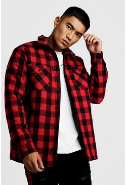 Mens Red Quilted Check Over Shirt