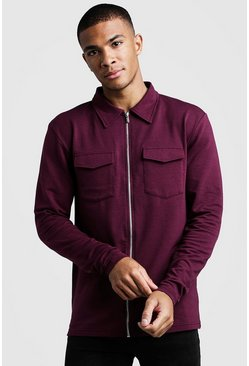 Mens Burgundy Muscle Fit Jersey Utility Shacket