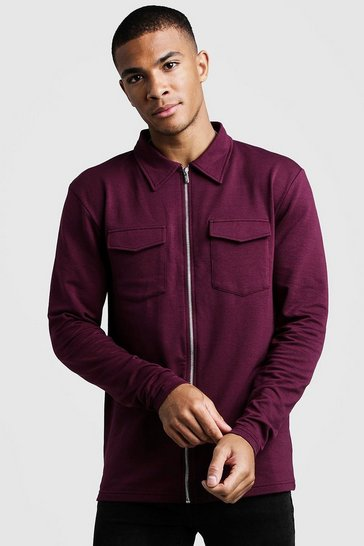 Burgundy Muscle Fit Jersey Utility Shacket