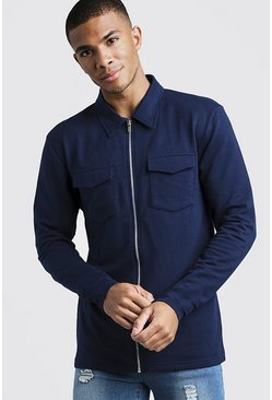 Mens Navy Muscle Fit Jersey Utility Shacket