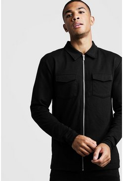 Mens Black Muscle Fit Jersey Utility Shacket