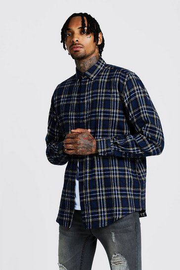 Mens Navy Oversized Long Sleeve Check Shirt