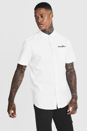 Mens White Loose Fit MAN Official Crepe Short Sleeve Shirt