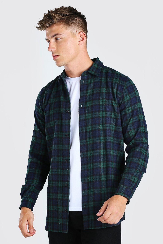 mens long sleeve longline flannel shirt - green