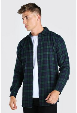 Green Long Sleeve Longline Flannel Check Shirt