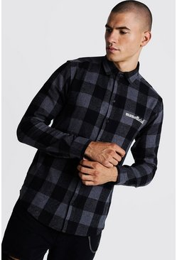 Mens Black MAN Official Brushed Check Long Sleeve Shirt