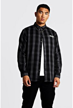 Mens Charcoal MAN Oversized Long Sleeve Check Shirt