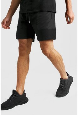Black MAN Signature Mid Length Short With Nylon Pockets