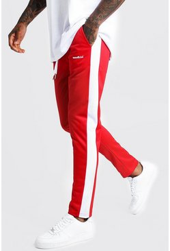 Mens Red MAN Official Tricot Joggers With Side Tape