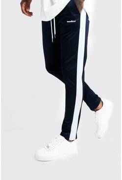Navy MAN Official Tricot Joggers With Side Tape