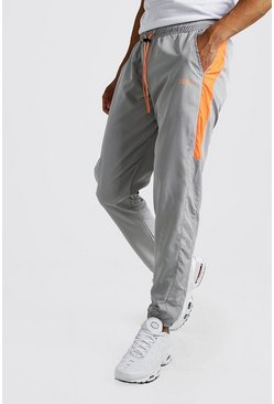 Light grey Original MAN Nylon Panelled Drawcord Joggers