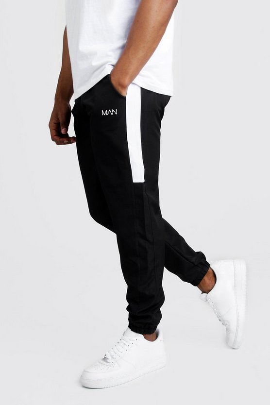 Black Original MAN Nylon Panelled Drawcord Joggers