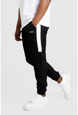 Mens Black Original MAN Nylon Panelled Drawcord Joggers