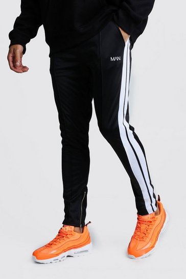 Mens Black Original MAN Tricot Pintuck Joggers With Zips