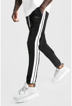 Black MAN Signature Velour Pintuck Joggers With Tape