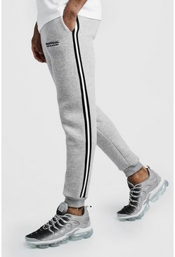 Grey MAN Official 3D Embroidered Skinny Jogger With Tape