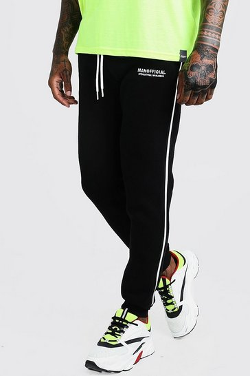 Mens Black MAN Official 3D Embroidered Skinny Joggers