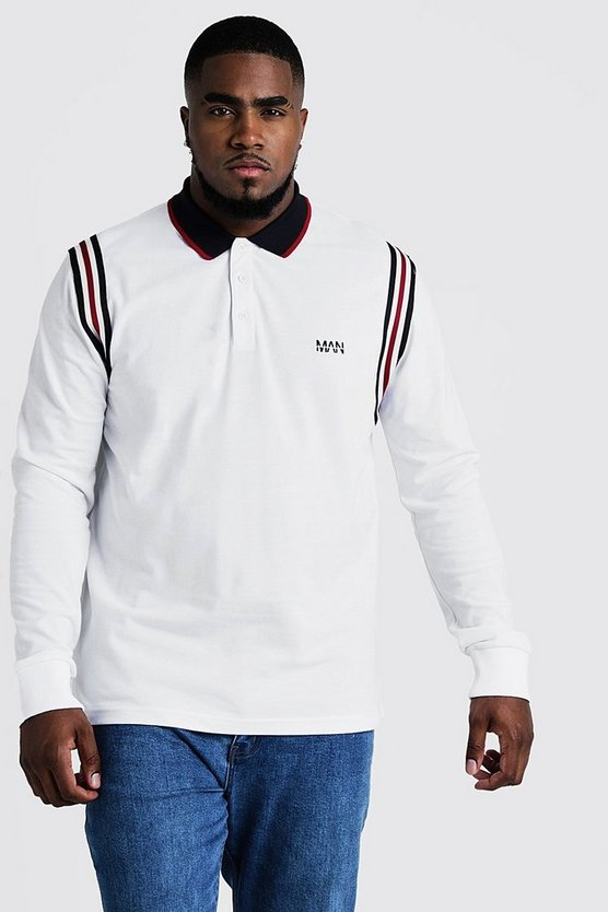 Mens White Big & Tall Polo With Tape Detail