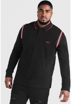 Big & Tall Polo With Tape Detail, Black, HOMBRE