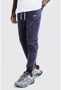 MAN Signature Slim-Fit Jogginghose aus Velours, Dunkelgrau, Herren