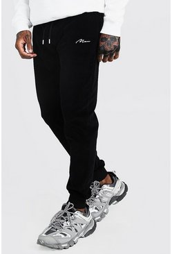MAN Signature Slim-Fit Jogginghose aus Velours, Schwarz, Herren