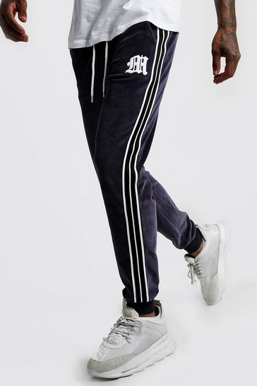 Mens Dark grey 'M' Embroidered Joggers With Tape Detail